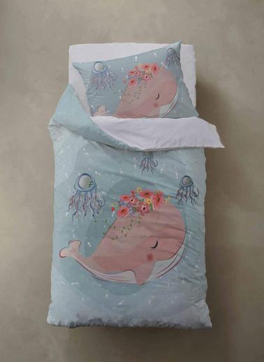 Lunanino  %100 Pamuk Bebek Nevresim Takımı Pink Whale Renkli